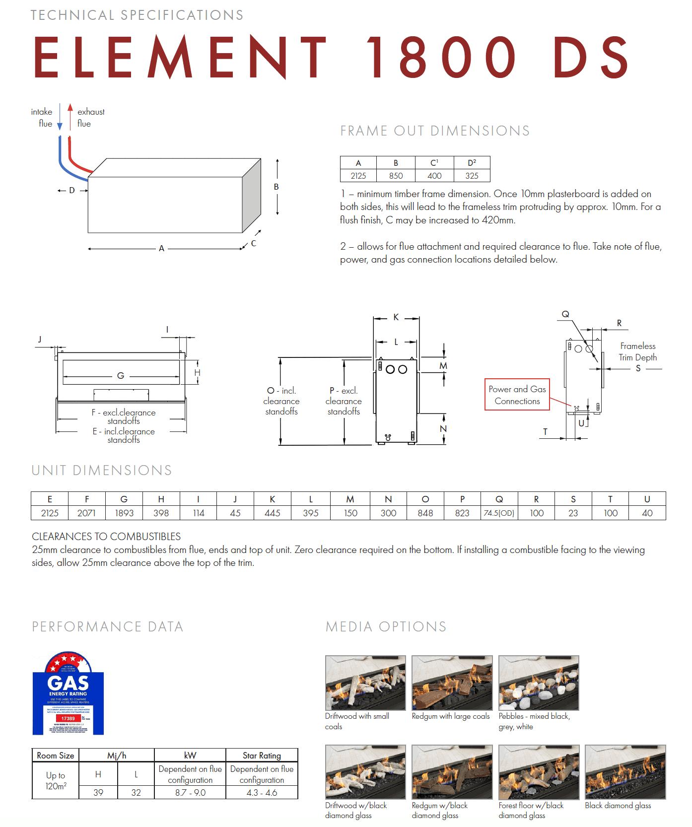 Element 1800ds Technical Specs